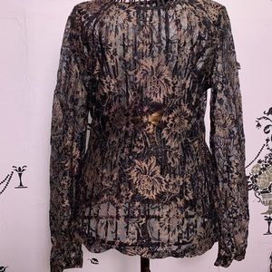 Forever 21 Lace Sheer Long Sleeve Blouse Sz Small